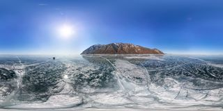 Crack on the ice of Lake Baikal from Olkhon. Spherical 360 vr 180 degree panorama.  Stock Images