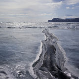 A crack in the ice. Lake Baikal, Russia. Stock Photography
