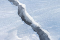 Crack on ice Stock Images