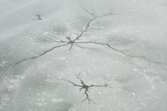 Crack ice and snow in winter Royalty Free Stock Image