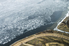 Crack on an ice surface of the frozen Han river and road top vie Royalty Free Stock Image