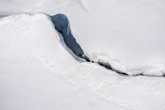 Crack in the ice under the snow Stock Photography