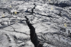 Crack in the Lava field, Big Island, Hawaii Royalty Free Stock Images