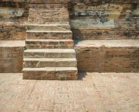 Crack old brick wall and walkway stairs outdoor royalty free stock images