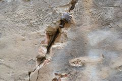 Crack in an old house wall royalty free stock photo