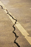 Crack in pavement. The  Crack of the road Stock Images