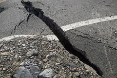 A crack in the pavement, the destruction of the road Royalty Free Stock Photography