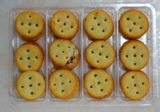 Crack pineapple filling cracker on plastic tray Royalty Free Stock Image