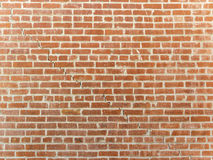 Crack in a Red Brick Wall. A well-laid red brick wall viewed straight on.  Single continuous crack visible from upper left to lower right Royalty Free Stock Image