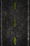 Crack road texture with two stripes. Stock Photos