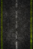 Crack road texture with two stripes. Royalty Free Stock Image