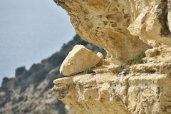 Crack rock on the coast of Cyprus Stock Photography