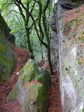 Crack Between Rocks on the Mullerthal Trail in Berdorf, Luxembourg. Impressive rocks on the  internationally awarded Müllerthal Trail in Berdorf, Luxembourg Royalty Free Stock Image