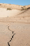 Crack in Sand. At Lucky Peak Reservoir in Boise, Idaho Stock Images