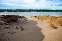 Beach on the mekong river in Thailand. Crack on the sand at mekong river, Thailand Stock Photos