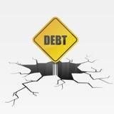 Crack Sign Debt Stock Image
