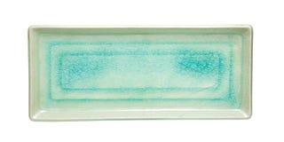 Crack Texture  on rectangular ceramic dish isolated on white bac Royalty Free Stock Photos