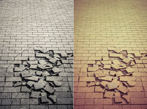Crack tile ground in retro and grunge style set Stock Images