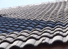 Crack tile roof on house Royalty Free Stock Images