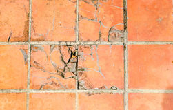 Crack tiles square clay orange floor Royalty Free Stock Photography