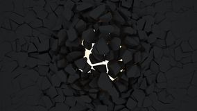 Crack wall. 3d render crack black wall Stock Image