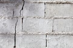 Crack in a white wall. With cement brick surface Stock Image