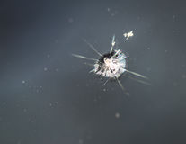Crack in windshield. Small crack in windshield. Selective focus Royalty Free Stock Photo