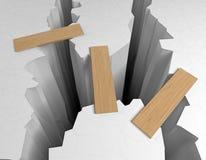Crack. Wood bridge at dark rift Stock Photo