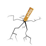 Crack with wooden sign for crisis. Illustration Stock Photography