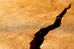 The crack on wooden surface Stock Images