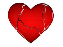 Cracked 3D heart Stock Photography
