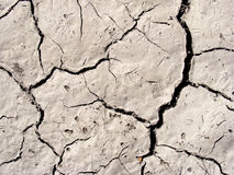 Cracked arid soil. A close-up of cracked grey soil in a dry climate Royalty Free Stock Image
