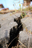 Cracked asphalt after earthquake Stock Photo