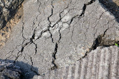 Cracked asphalt after earthquake Royalty Free Stock Image