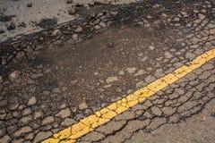 Cracked asphalt road Royalty Free Stock Images