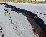 Cracked asphalt road Stock Image