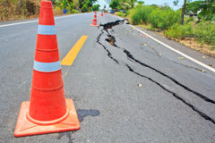 Cracked asphalt road Stock Photography