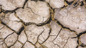 Cracked Barren Soil At Drought. Panning shot above pieces of cracked barren soil dried with hot sun and lack of water stock video