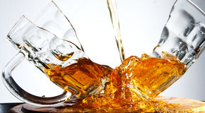 Cracked beer glass stock image