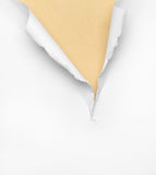 Cracked beige paper background. Isolated on white Stock Photo