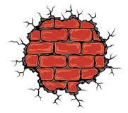 Cracked birck wall Stock Photo