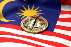Cracked Bitcoin coin on Malaysian flag. Bad Bitcoin condition in Malaysia concept. 3D Rendering royalty free stock photography