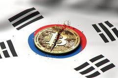 Cracked Bitcoin coin on South Korean flag. Bad Bitcoin condition in South Korea concept. 3D Rendering. Cracked Bitcoin coin on South Korean flag. Bad Bitcoin royalty free illustration