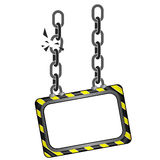 Cracked black yellow striped chain board  template Stock Image