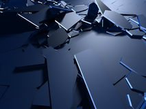 Cracked blue shiny demolition broken surface background. 3d render illustration royalty free illustration