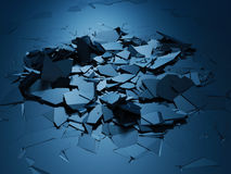 Cracked blue shiny demolition broken surface background. 3d render illustration stock illustration