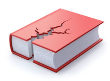 Cracked book. Red cracked book on white background - 3D concept Stock Images