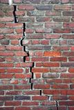 Cracked Brick Wall. An old brick wall with a crack going right through Royalty Free Stock Image