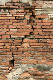 Cracked old red Brick wall vertical background. Detail of ancient temple brick wall in the ancient thai capital of ayutthaya stock images
