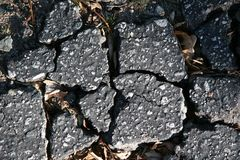 Cracked Broken Asphalt Pavement. For Texture stock image